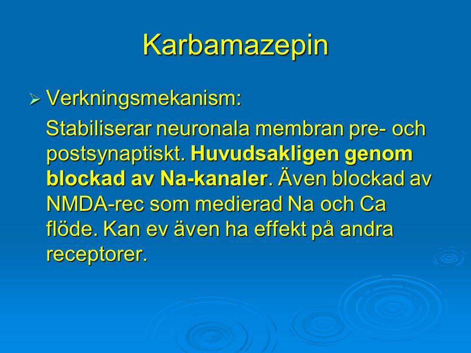 Karbamazepin  Verkningsmekanism: Stabiliserar neuronala membran pre- och postsynaptiskt. Huvudsakligen genom blockad av Na-kanaler. Även blockad av N