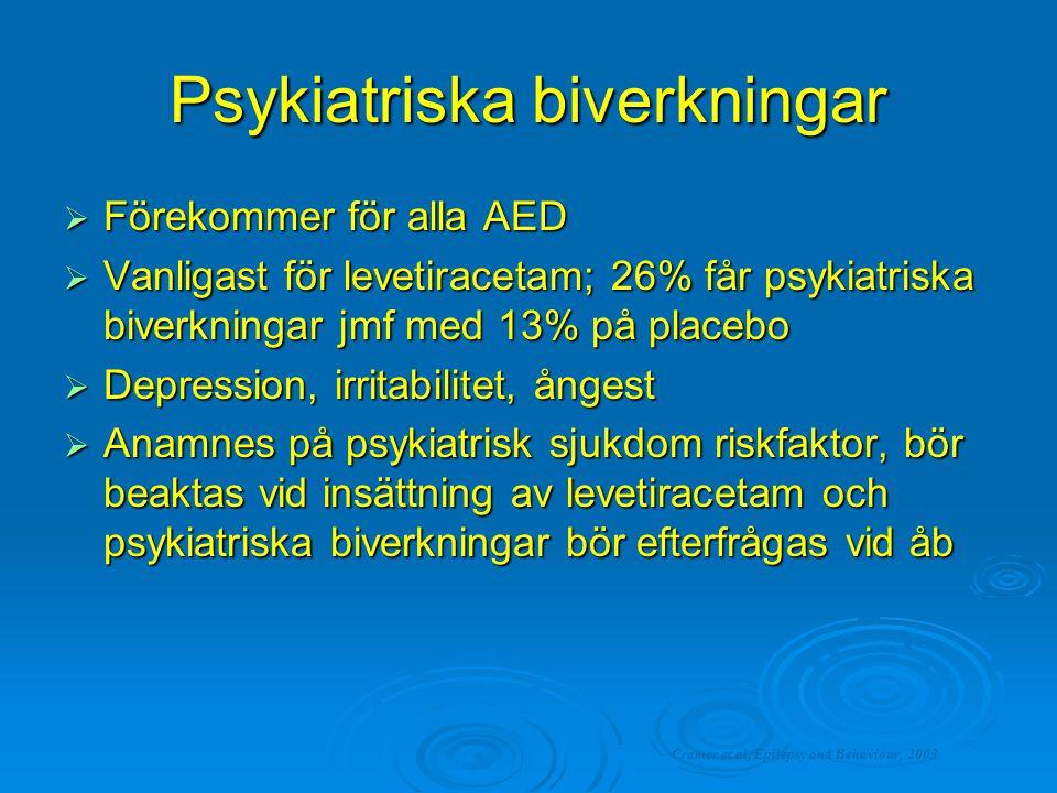 Psykiatriska biverkningar  Förekommer för alla AED  Vanligast för levetiracetam; 26% får psykiatriska biverkningar jmf med 13% på placebo  Depressi