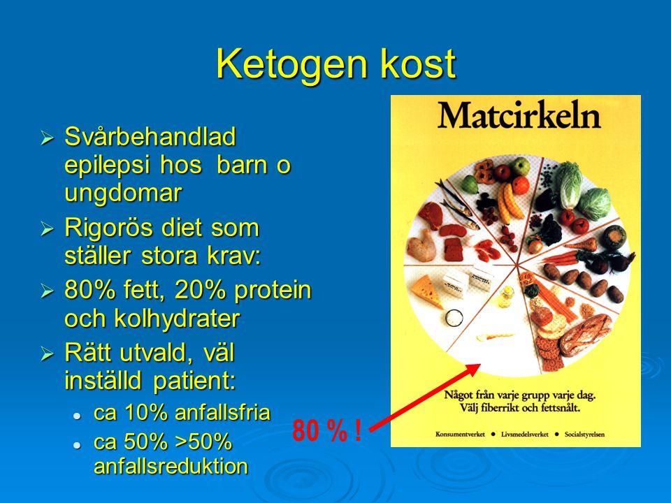 Ketogen kost  Svårbehandlad epilepsi hos barn o ungdomar  Rigorös diet som ställer stora krav:  80% fett, 20% protein och kolhydrater  Rätt utvald