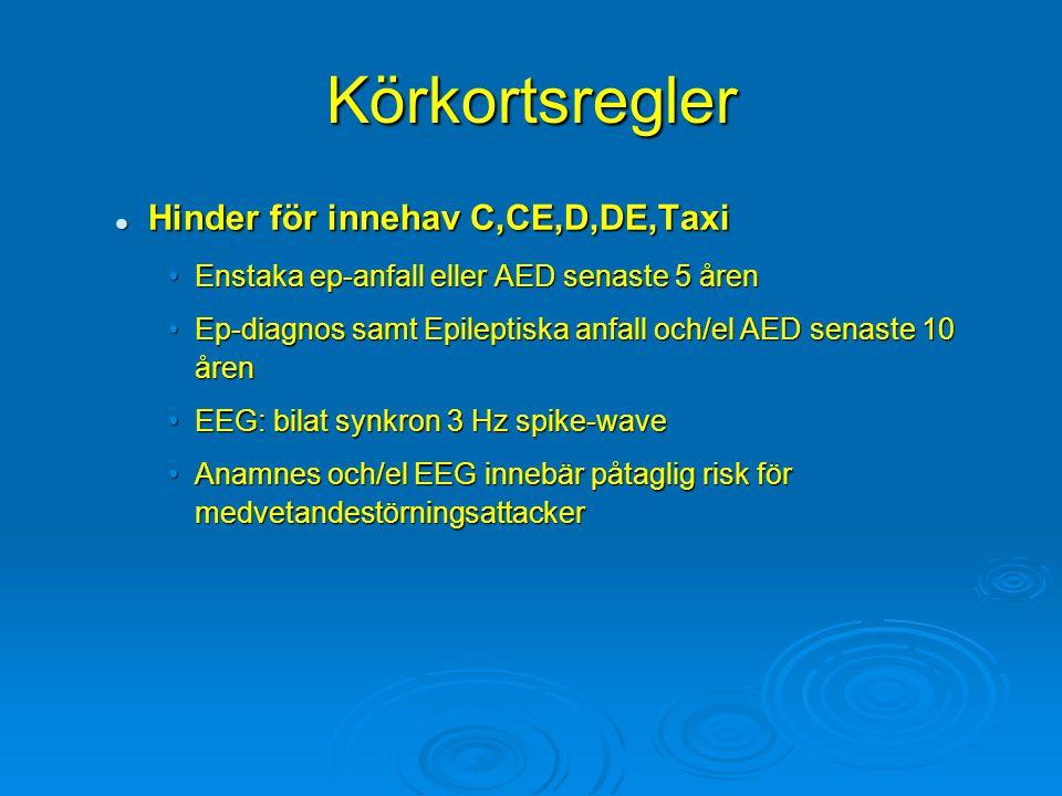 Körkortsregler Hinder för innehav C,CE,D,DE,Taxi Hinder för innehav C,CE,D,DE,Taxi Enstaka ep-anfall eller AED senaste 5 årenEnstaka ep-anfall eller A
