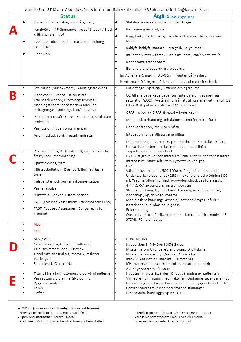 StatusÅtgärd (dosering vuxen) A  Inspektion av ansikte, munhåla, hals; Angioödem / Främmande kropp/ Skador / Blod, kräkning, slem, sot  Lyssna: Stridor, heshet, snarkande andning, slembiljud  Fiberskopi  Stabilisera nacken vid behov, nackkrage  Rensugning av blod, slem  Ryggdunk/bukstöt, avlägsnande av främmande kropp med MaGill  Käklyft, haklyft, kantarell, svalgtub, larynxmask  Intubation max 3 försök.