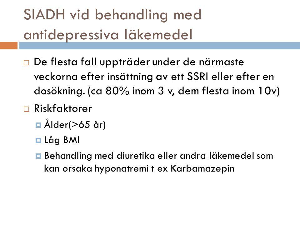 SIADH vid behandling med antidepressiva läkemedel  De flesta fall uppträder under de närmaste veckorna efter insättning av ett SSRI eller efter en do
