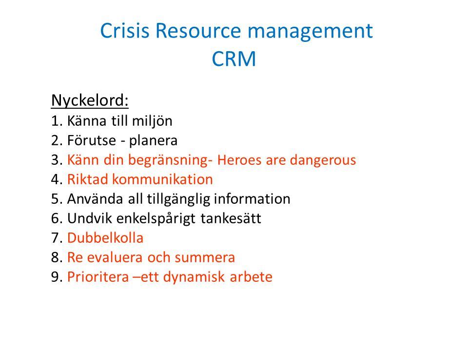 Crisis Resource management CRM Nyckelord: 1. Känna till miljön 2. Förutse - planera 3. Känn din begränsning- Heroes are dangerous 4. Riktad kommunikat
