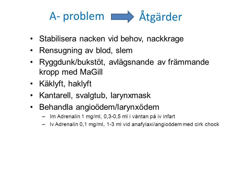 A- problem Stabilisera nacken vid behov, nackkrage Rensugning av blod, slem Ryggdunk/bukstöt, avlägsnande av främmande kropp med MaGill Käklyft, hakly