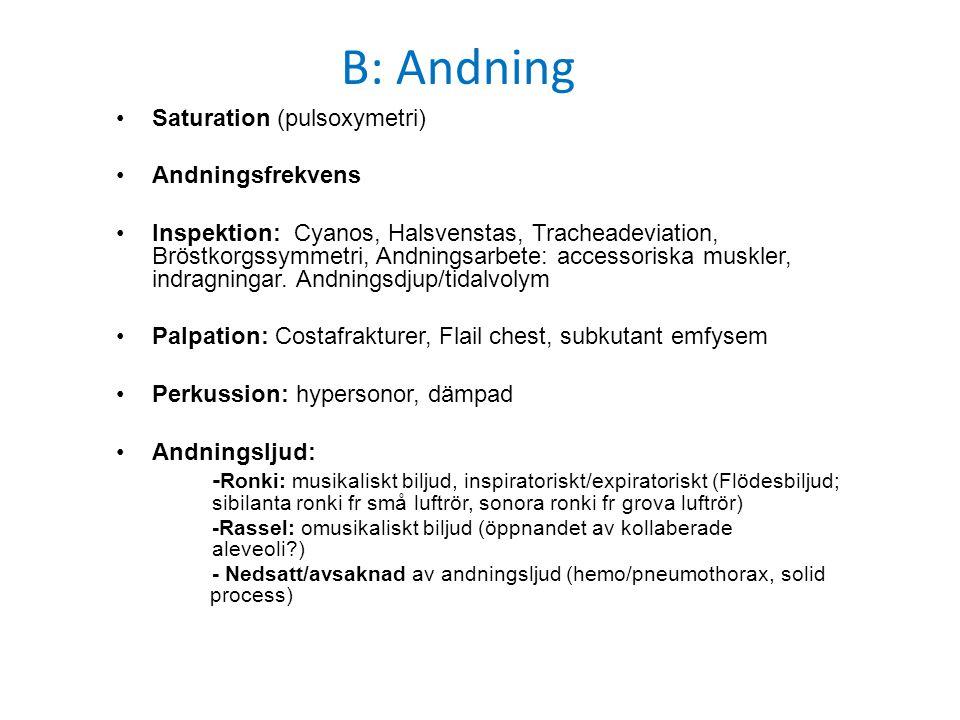 B: Andning Saturation (pulsoxymetri) Andningsfrekvens Inspektion: Cyanos, Halsvenstas, Tracheadeviation, Bröstkorgssymmetri, Andningsarbete: accessori