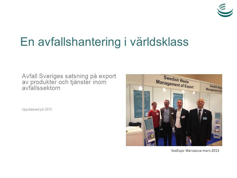 En avfallshantering i världsklass Avfall Sveriges satsning på export av produkter och tjänster inom avfallssektorn Uppdaterad juli 2013 SosExpo Warsza