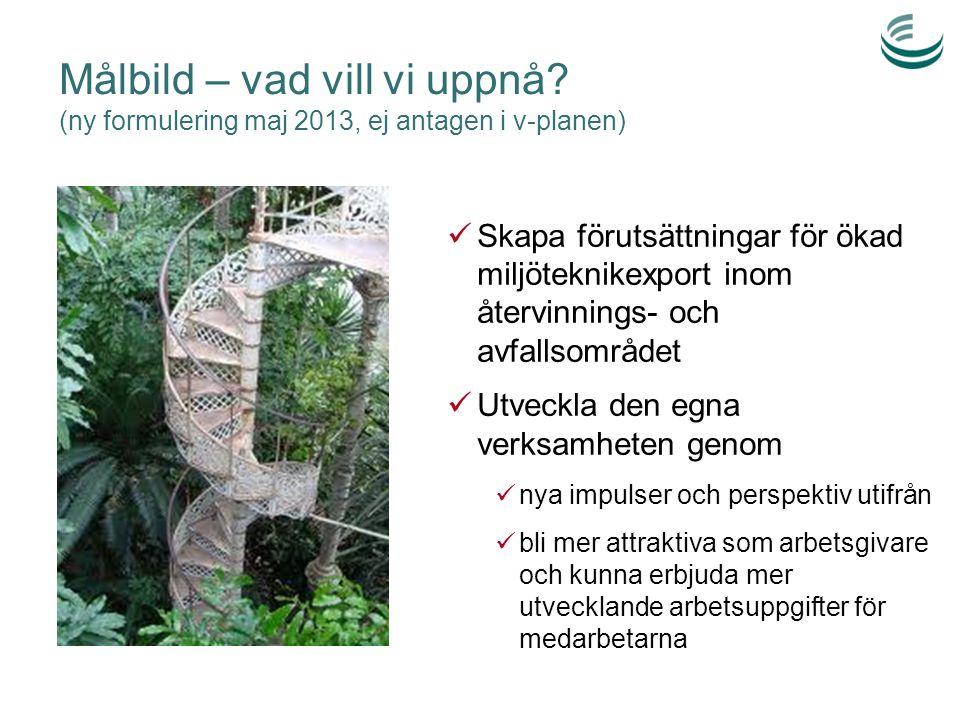 Målbild – vad vill vi uppnå? (ny formulering maj 2013, ej antagen i v-planen) Skapa förutsättningar för ökad miljöteknikexport inom återvinnings- och