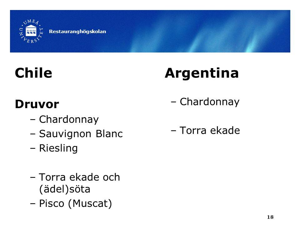 ChileArgentina Druvor –Chardonnay –Sauvignon Blanc –Riesling –Torra ekade och (ädel)söta –Pisco (Muscat) Restauranghögskolan 18 –Chardonnay –Torra eka