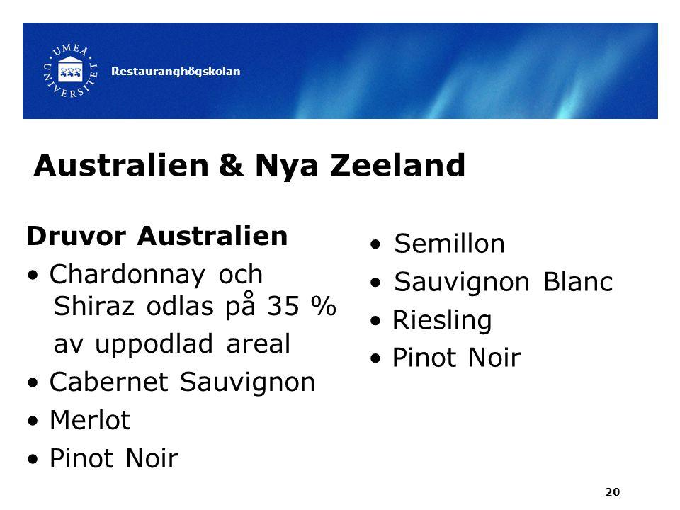 Australien & Nya Zeeland Druvor Australien Chardonnay och Shiraz odlas på 35 % av uppodlad areal Cabernet Sauvignon Merlot Pinot Noir Restauranghögsko