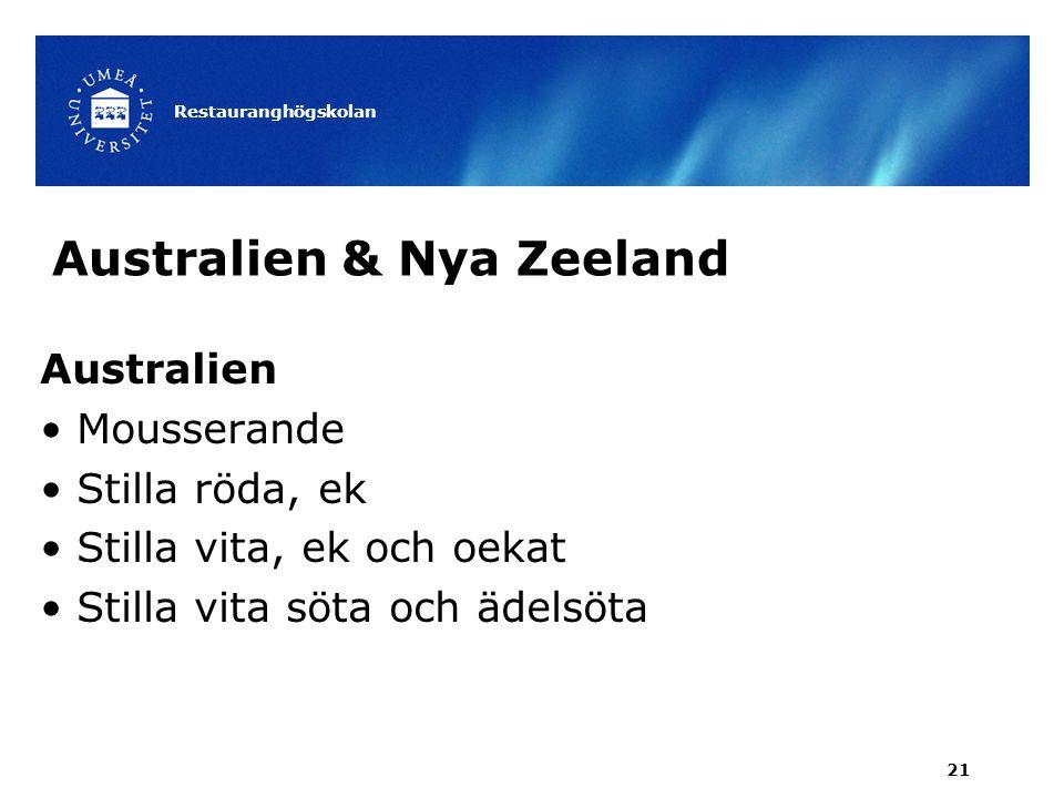Australien & Nya Zeeland Australien Mousserande Stilla röda, ek Stilla vita, ek och oekat Stilla vita söta och ädelsöta Restauranghögskolan 21