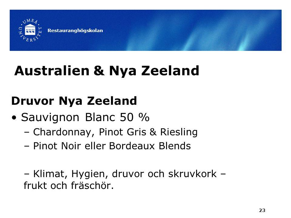 Australien & Nya Zeeland Druvor Nya Zeeland Sauvignon Blanc 50 % – Chardonnay, Pinot Gris & Riesling – Pinot Noir eller Bordeaux Blends – Klimat, Hygi