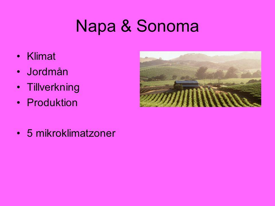 Napa & Sonoma Klimat Jordmån Tillverkning Produktion 5 mikroklimatzoner