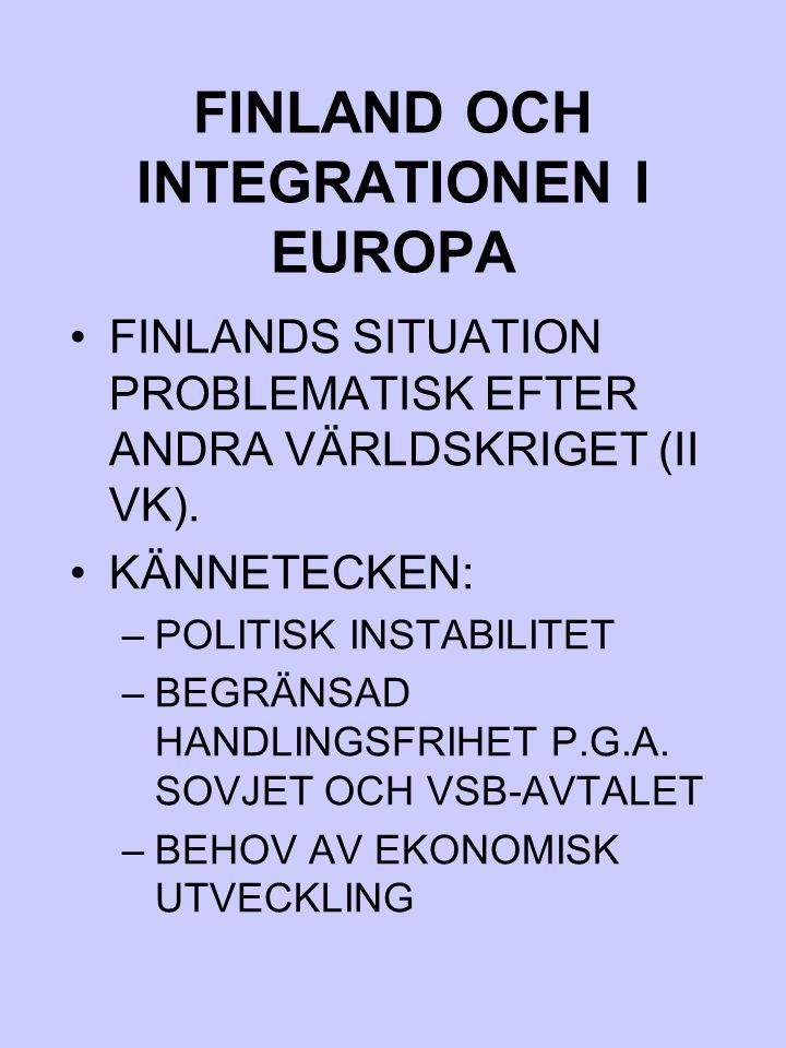FINLAND OCH INTEGRATIONEN I EUROPA FINLANDS SITUATION PROBLEMATISK EFTER ANDRA VÄRLDSKRIGET (II VK). KÄNNETECKEN: –POLITISK INSTABILITET –BEGRÄNSAD HA