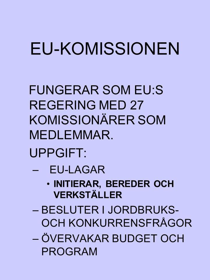 EU-KOMISSIONEN FUNGERAR SOM EU:S REGERING MED 27 KOMISSIONÄRER SOM MEDLEMMAR. UPPGIFT: – EU-LAGAR INITIERAR, BEREDER OCH VERKSTÄLLER –BESLUTER I JORDB
