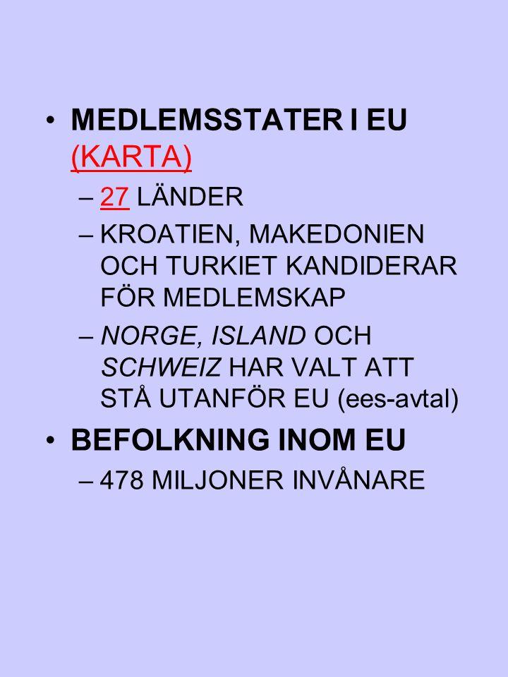 MEDLEMSSTATER I EU (KARTA) (KARTA) –27 LÄNDER27 –KROATIEN, MAKEDONIEN OCH TURKIET KANDIDERAR FÖR MEDLEMSKAP –NORGE, ISLAND OCH SCHWEIZ HAR VALT ATT ST