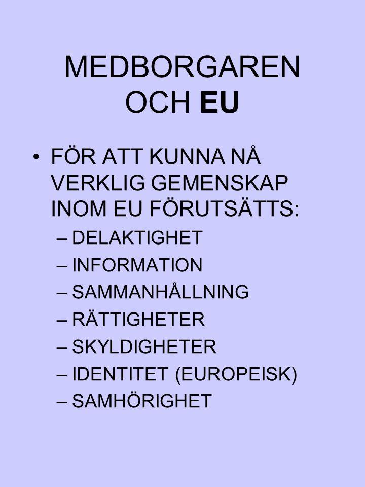 MEDBORGAREN OCH EU FÖR ATT KUNNA NÅ VERKLIG GEMENSKAP INOM EU FÖRUTSÄTTS: –DELAKTIGHET –INFORMATION –SAMMANHÅLLNING –RÄTTIGHETER –SKYLDIGHETER –IDENTI