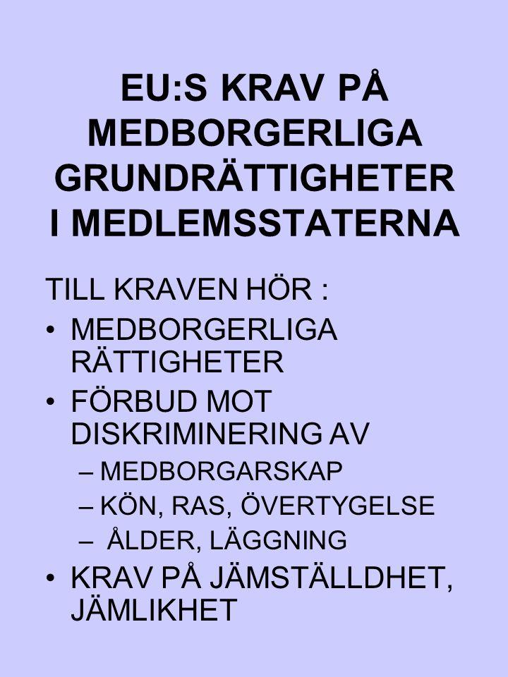 EU:S KRAV PÅ MEDBORGERLIGA GRUNDRÄTTIGHETER I MEDLEMSSTATERNA TILL KRAVEN HÖR : MEDBORGERLIGA RÄTTIGHETER FÖRBUD MOT DISKRIMINERING AV –MEDBORGARSKAP