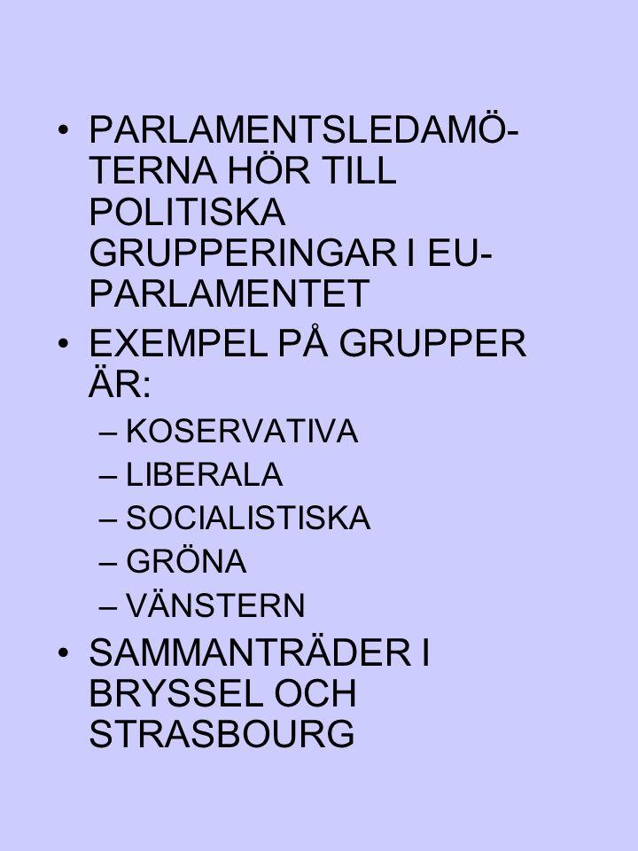 PARLAMENTSLEDAMÖ- TERNA HÖR TILL POLITISKA GRUPPERINGAR I EU- PARLAMENTET EXEMPEL PÅ GRUPPER ÄR: –KOSERVATIVA –LIBERALA –SOCIALISTISKA –GRÖNA –VÄNSTER