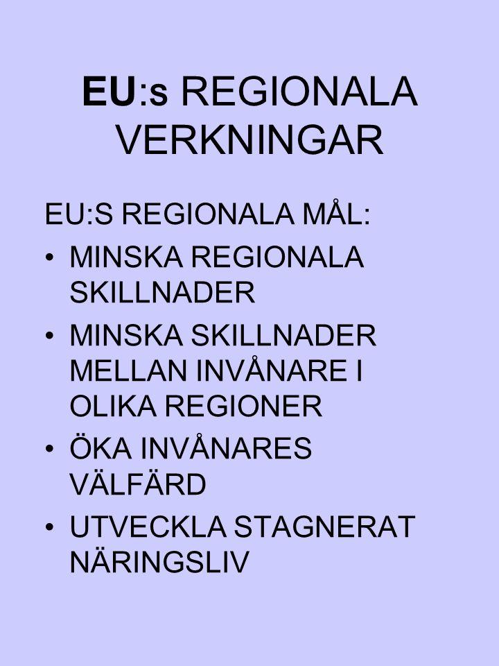 EU: S REGIONALA VERKNINGAR EU:S REGIONALA MÅL: MINSKA REGIONALA SKILLNADER MINSKA SKILLNADER MELLAN INVÅNARE I OLIKA REGIONER ÖKA INVÅNARES VÄLFÄRD UT