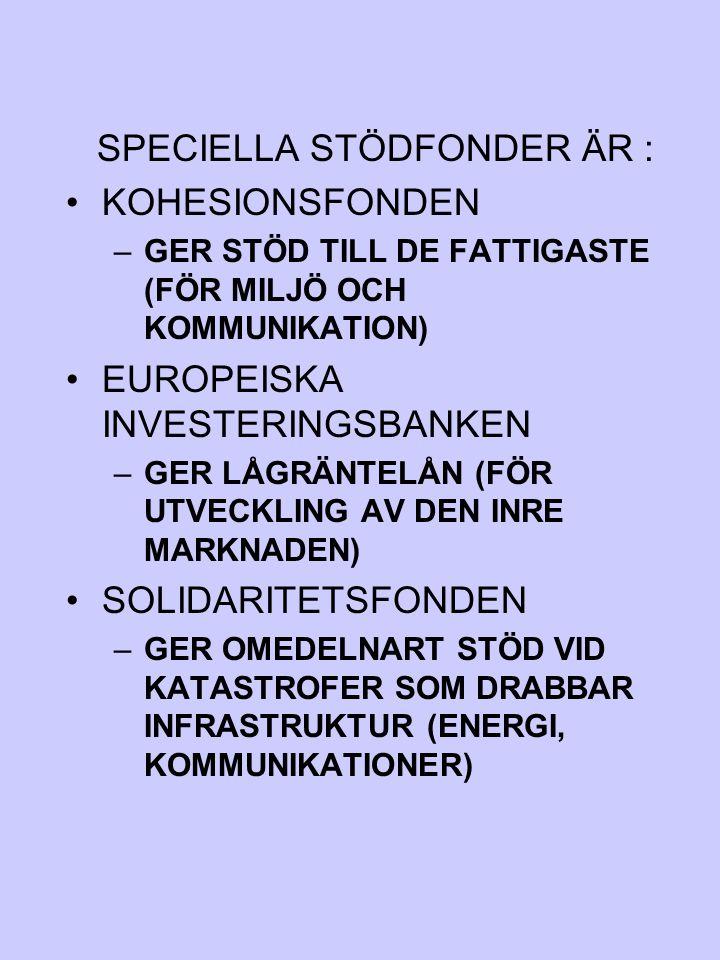 SPECIELLA STÖDFONDER ÄR : KOHESIONSFONDEN –GER STÖD TILL DE FATTIGASTE (FÖR MILJÖ OCH KOMMUNIKATION) EUROPEISKA INVESTERINGSBANKEN –GER LÅGRÄNTELÅN (F