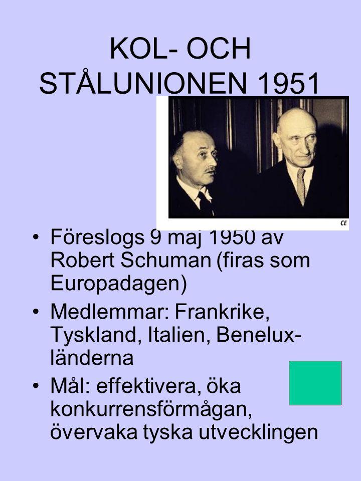 KOL- OCH STÅLUNIONEN 1951 Föreslogs 9 maj 1950 av Robert Schuman (firas som Europadagen) Medlemmar: Frankrike, Tyskland, Italien, Benelux- länderna Må