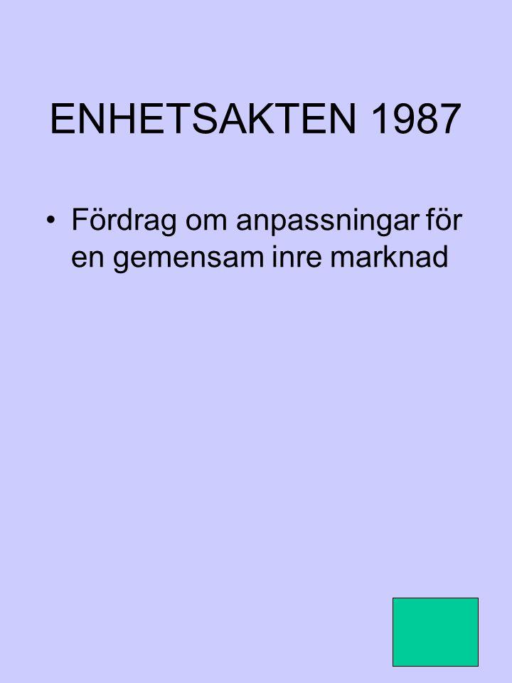 ENHETSAKTEN 1987 Fördrag om anpassningar för en gemensam inre marknad