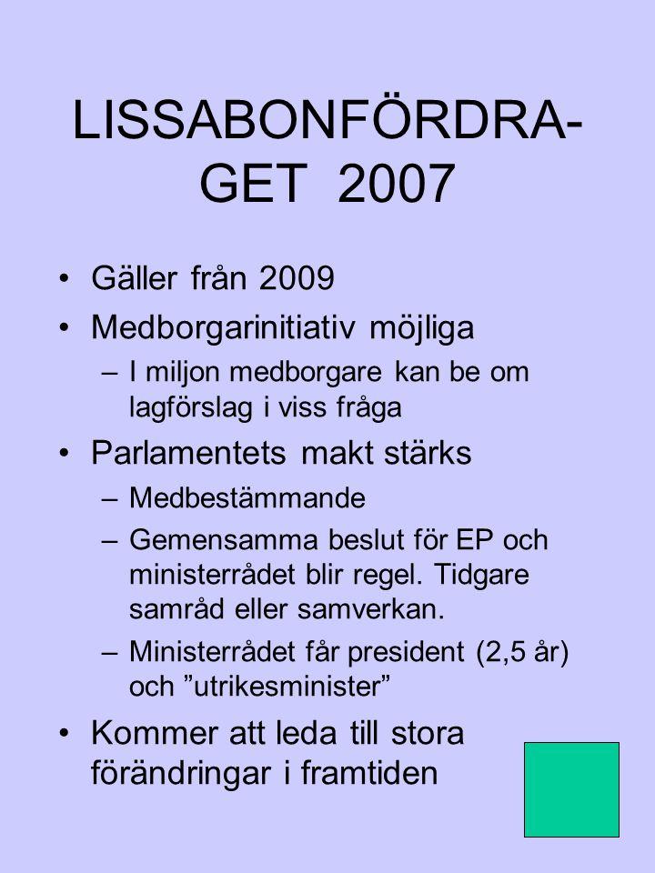 LISSABONFÖRDRA- GET 2007 Gäller från 2009 Medborgarinitiativ möjliga –I miljon medborgare kan be om lagförslag i viss fråga Parlamentets makt stärks –