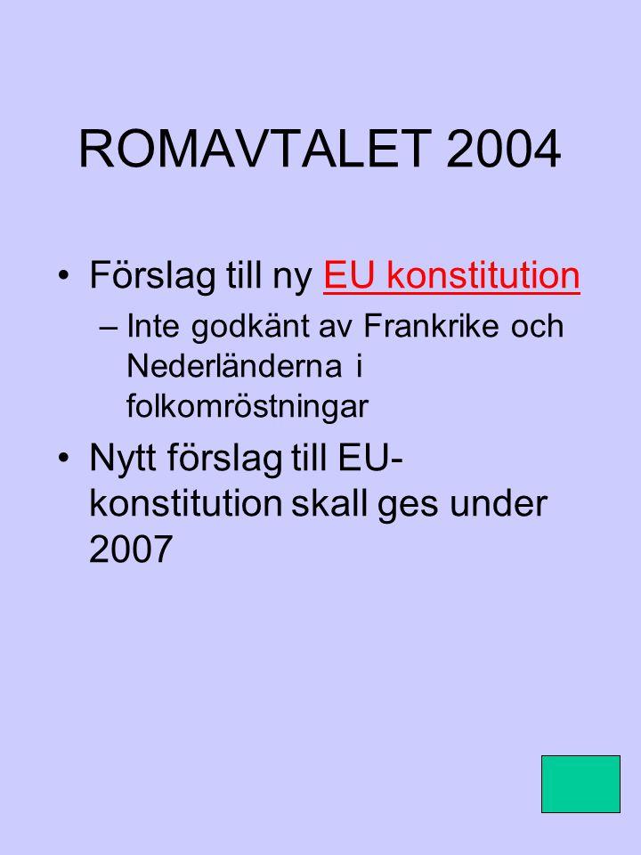 ROMAVTALET 2004 Förslag till ny EU konstitutionEU konstitution –Inte godkänt av Frankrike och Nederländerna i folkomröstningar Nytt förslag till EU- k