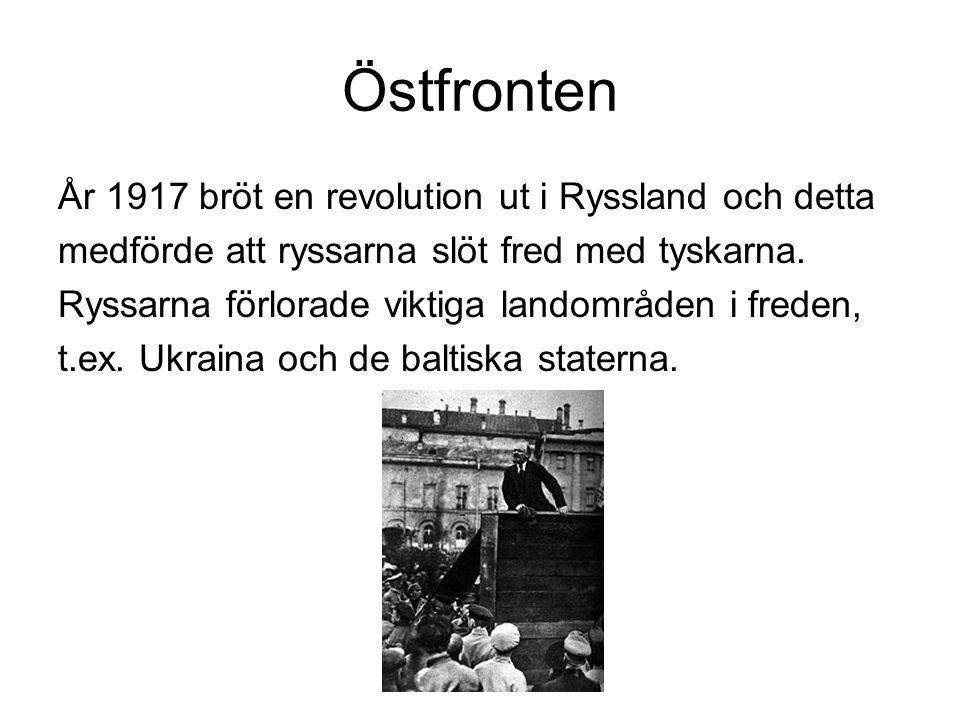 Östfronten År 1917 bröt en revolution ut i Ryssland och detta medförde att ryssarna slöt fred med tyskarna.