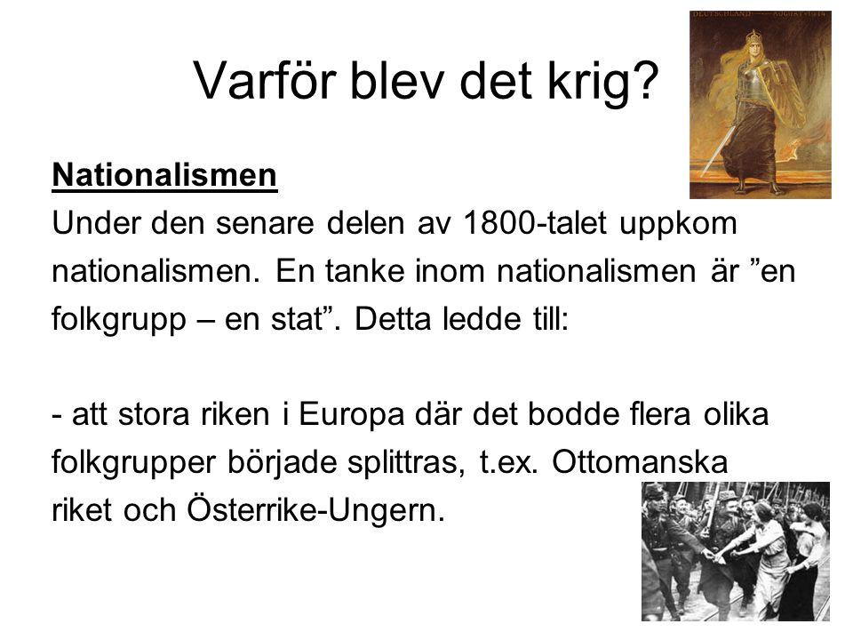 Varför blev det krig.Nationalismen Under den senare delen av 1800-talet uppkom nationalismen.