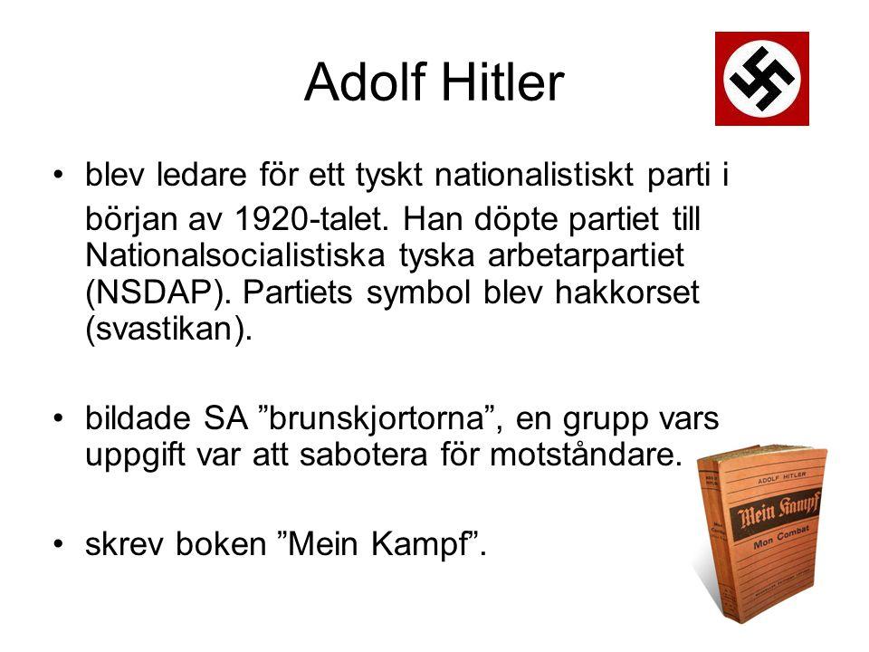 Adolf Hitler blev ledare för ett tyskt nationalistiskt parti i början av 1920-talet.