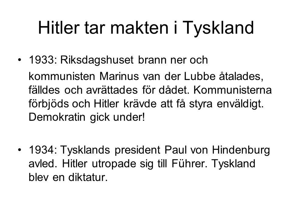 Hitler tar makten i Tyskland 1933: Riksdagshuset brann ner och kommunisten Marinus van der Lubbe åtalades, fälldes och avrättades för dådet.