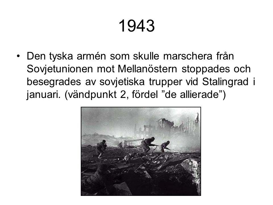 1943 Den tyska armén som skulle marschera från Sovjetunionen mot Mellanöstern stoppades och besegrades av sovjetiska trupper vid Stalingrad i januari.