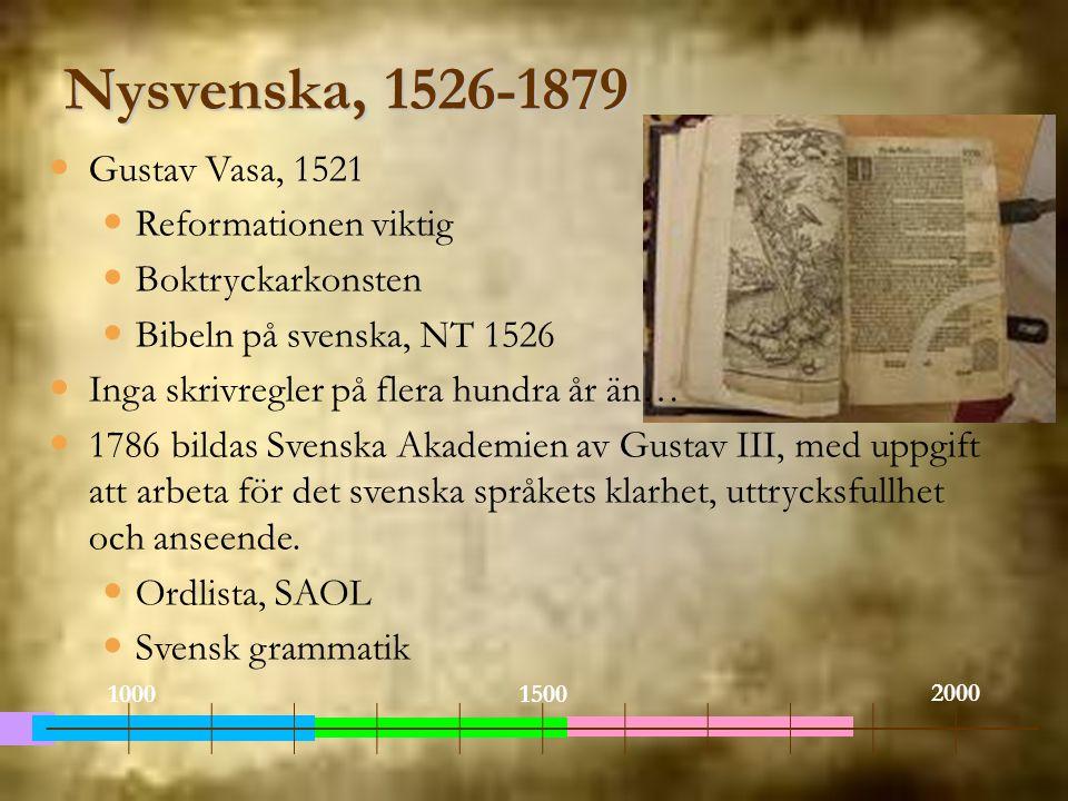 Nysvenska, 1526-1879 Gustav Vasa, 1521 Reformationen viktig Boktryckarkonsten Bibeln på svenska, NT 1526 Inga skrivregler på flera hundra år än… 1786