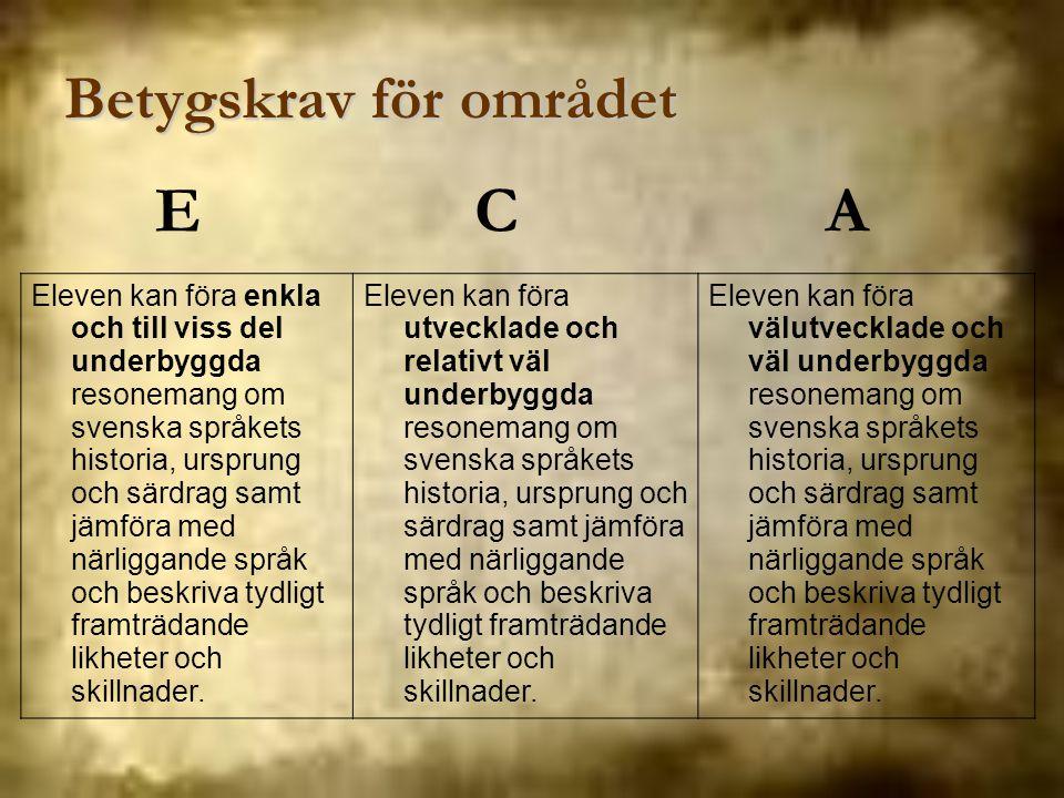 Betygskrav för området Eleven kan föra enkla och till viss del underbyggda resonemang om svenska språkets historia, ursprung och särdrag samt jämföra
