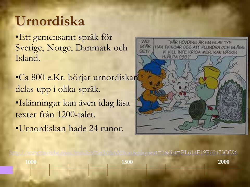 Urnordiska Ett gemensamt språk för Sverige, Norge, Danmark och Island. 1000 2000 1500 Ca 800 e.Kr. börjar urnordiskan delas upp i olika språk. Islänni