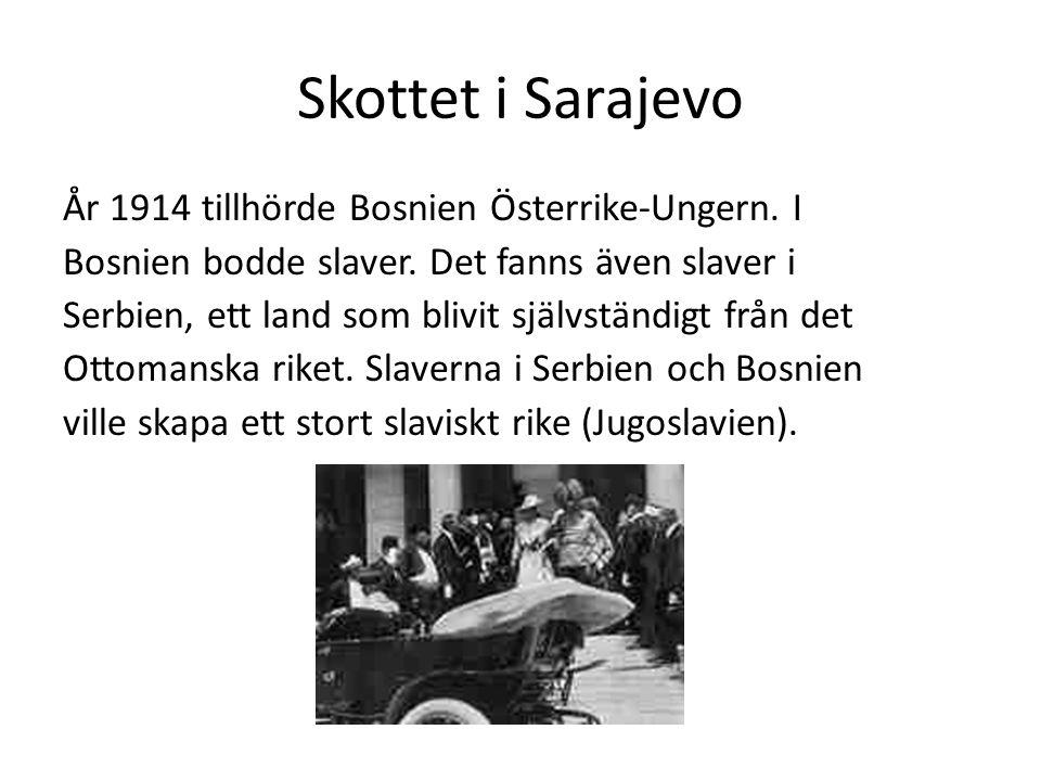 Skottet i Sarajevo År 1914 tillhörde Bosnien Österrike-Ungern.