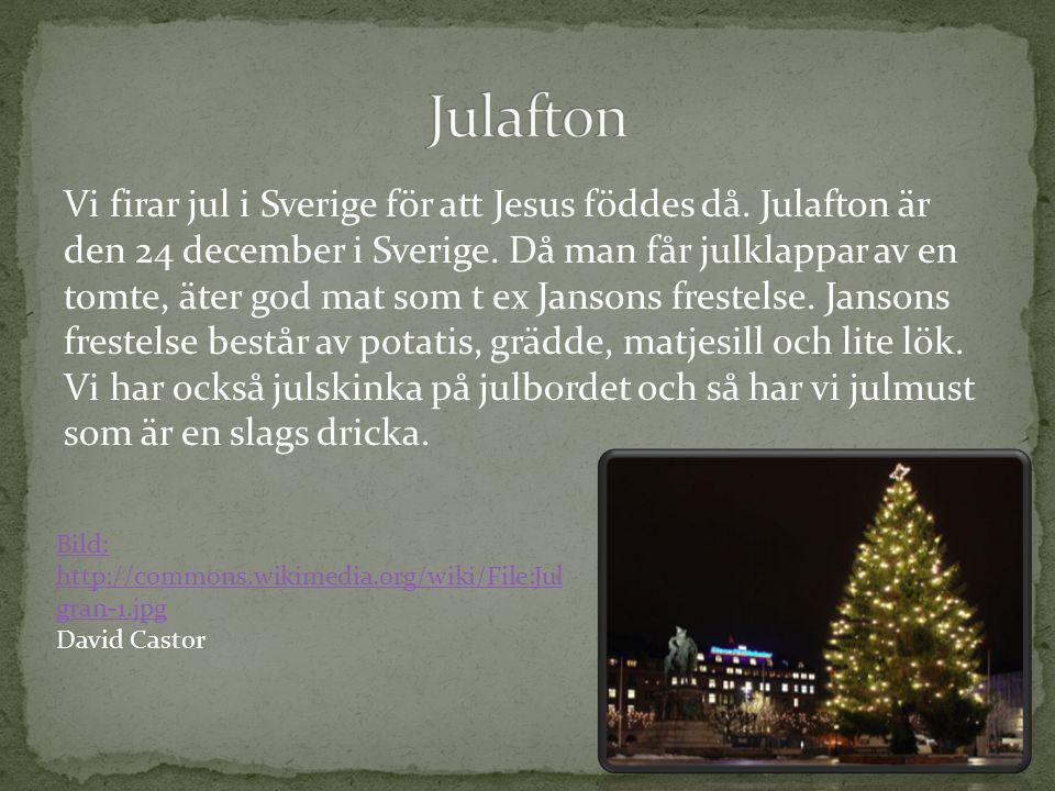 Vi firar jul i Sverige för att Jesus föddes då. Julafton är den 24 december i Sverige. Då man får julklappar av en tomte, äter god mat som t ex Janson
