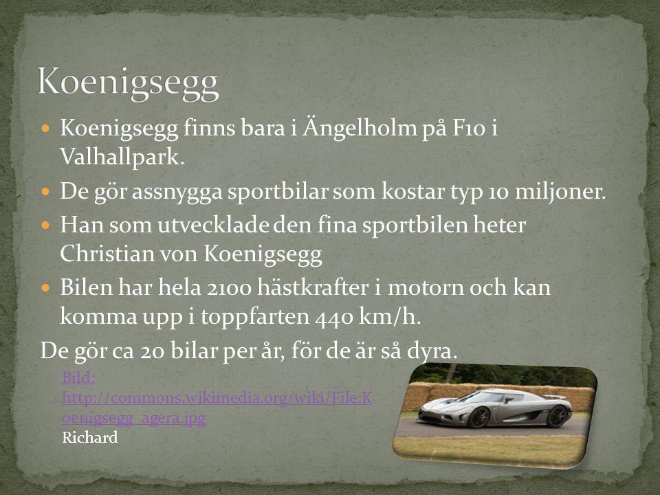 Koenigsegg finns bara i Ängelholm på F10 i Valhallpark. De gör assnygga sportbilar som kostar typ 10 miljoner. Han som utvecklade den fina sportbilen