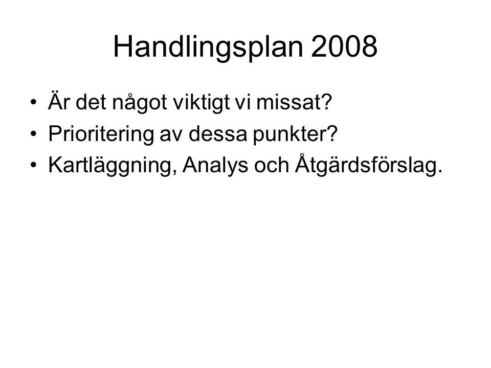 Handlingsplan 2008 Är det något viktigt vi missat? Prioritering av dessa punkter? Kartläggning, Analys och Åtgärdsförslag.