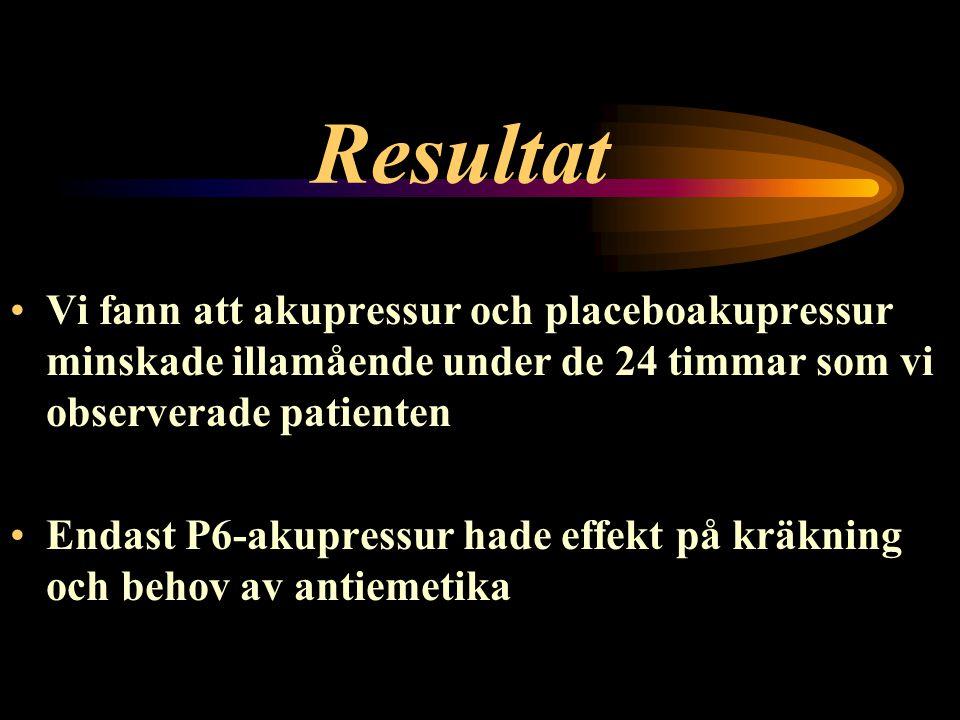 Resultat Vi fann att akupressur och placeboakupressur minskade illamående under de 24 timmar som vi observerade patienten Endast P6-akupressur hade effekt på kräkning och behov av antiemetika