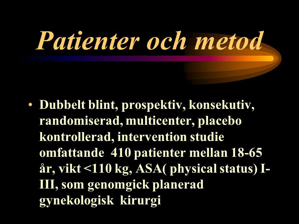 Patienter och metod Dubbelt blint, prospektiv, konsekutiv, randomiserad, multicenter, placebo kontrollerad, intervention studie omfattande 410 patienter mellan 18-65 år, vikt <110 kg, ASA( physical status) I- III, som genomgick planerad gynekologisk kirurgi