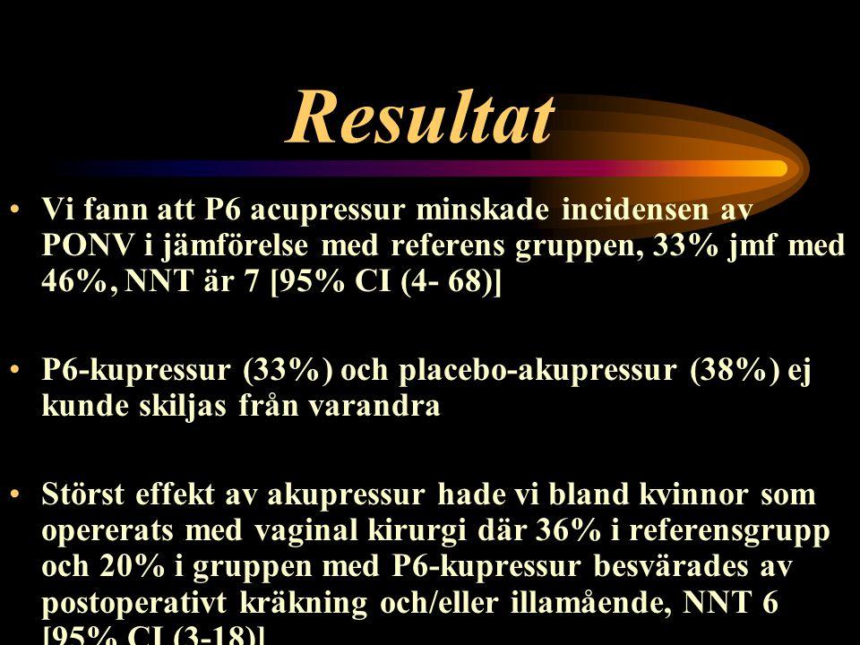 Resultat Vi fann att P6 acupressur minskade incidensen av PONV i jämförelse med referens gruppen, 33% jmf med 46%, NNT är 7 [95% CI (4- 68)] P6-kupres