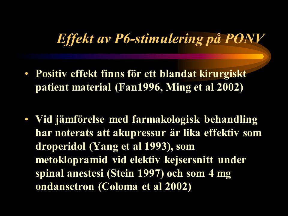 Syfte Att undersöka effekten och placeboeffekten på förekomst av postoperativt illamående och kräkning efter en profylaktisk ickefarmakologisk behandling som P6 akupressur