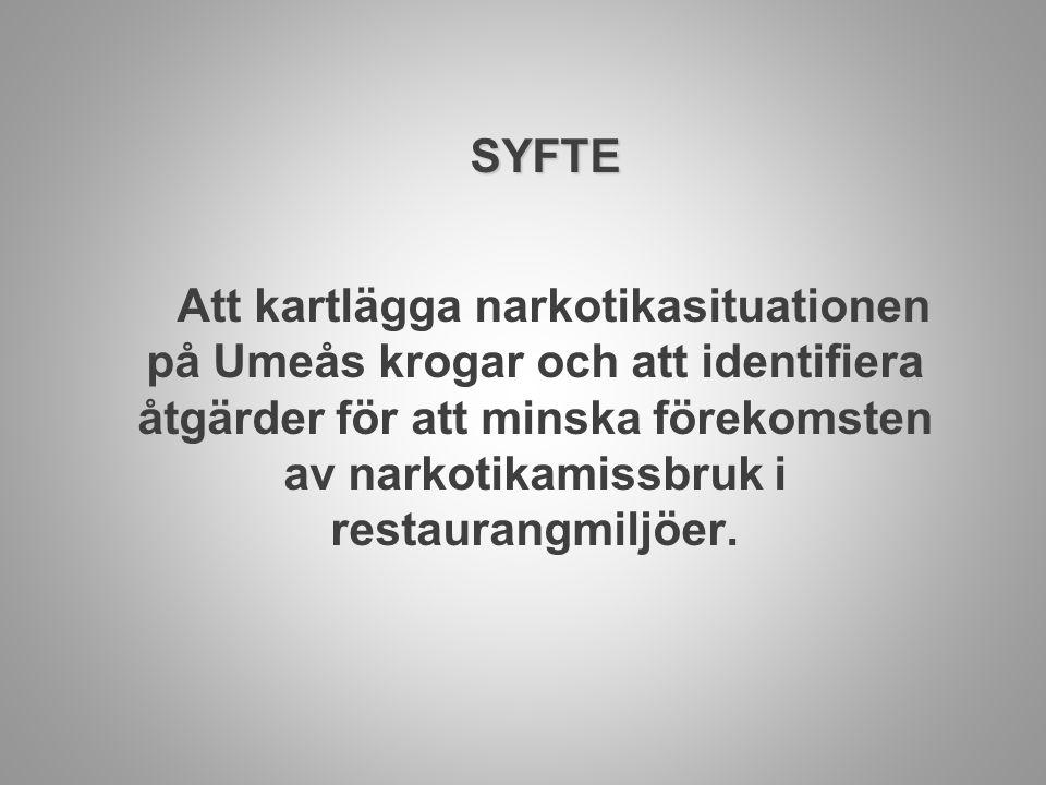 SYFTE Att kartlägga narkotikasituationen på Umeås krogar och att identifiera åtgärder för att minska förekomsten av narkotikamissbruk i restaurangmilj