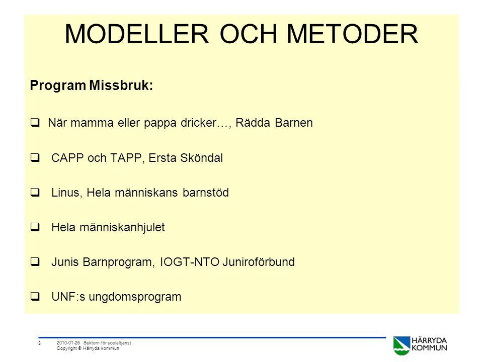 3 2010-01-26 Sektorn för socialtjänst Copyright © Härryda kommun MODELLER OCH METODER Program Missbruk:  När mamma eller pappa dricker…, Rädda Barnen