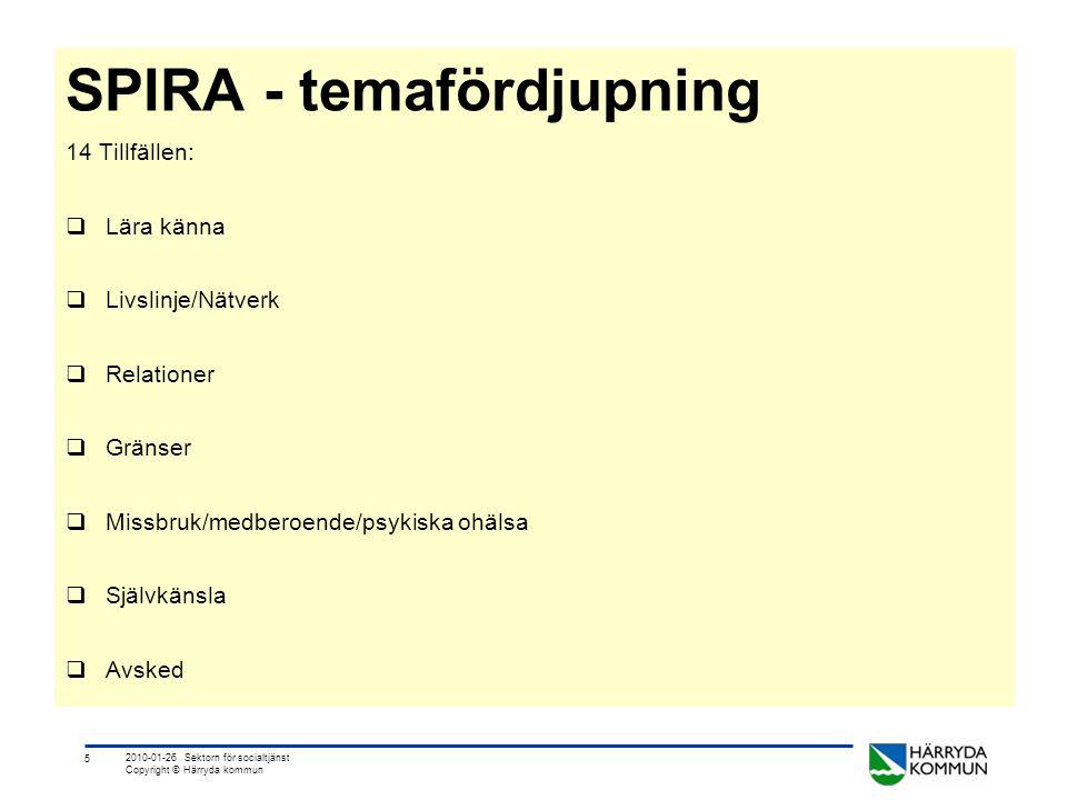 5 2010-01-26 Sektorn för socialtjänst Copyright © Härryda kommun SPIRA - temafördjupning 14 Tillfällen:  Lära känna  Livslinje/Nätverk  Relationer