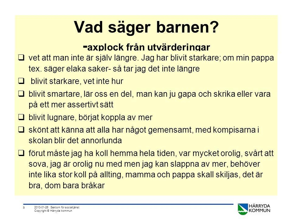 9 2010-01-26 Sektorn för socialtjänst Copyright © Härryda kommun Vad säger barnen? - axplock från utvärderingar  vet att man inte är själv längre. Ja