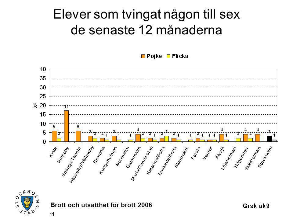 Brott och utsatthet för brott 2006 11 Elever som tvingat någon till sex de senaste 12 månaderna