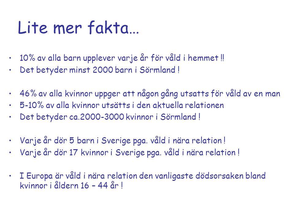 Lite mer fakta… 10% av alla barn upplever varje år för våld i hemmet !! Det betyder minst 2000 barn i Sörmland ! 46% av alla kvinnor uppger att någon